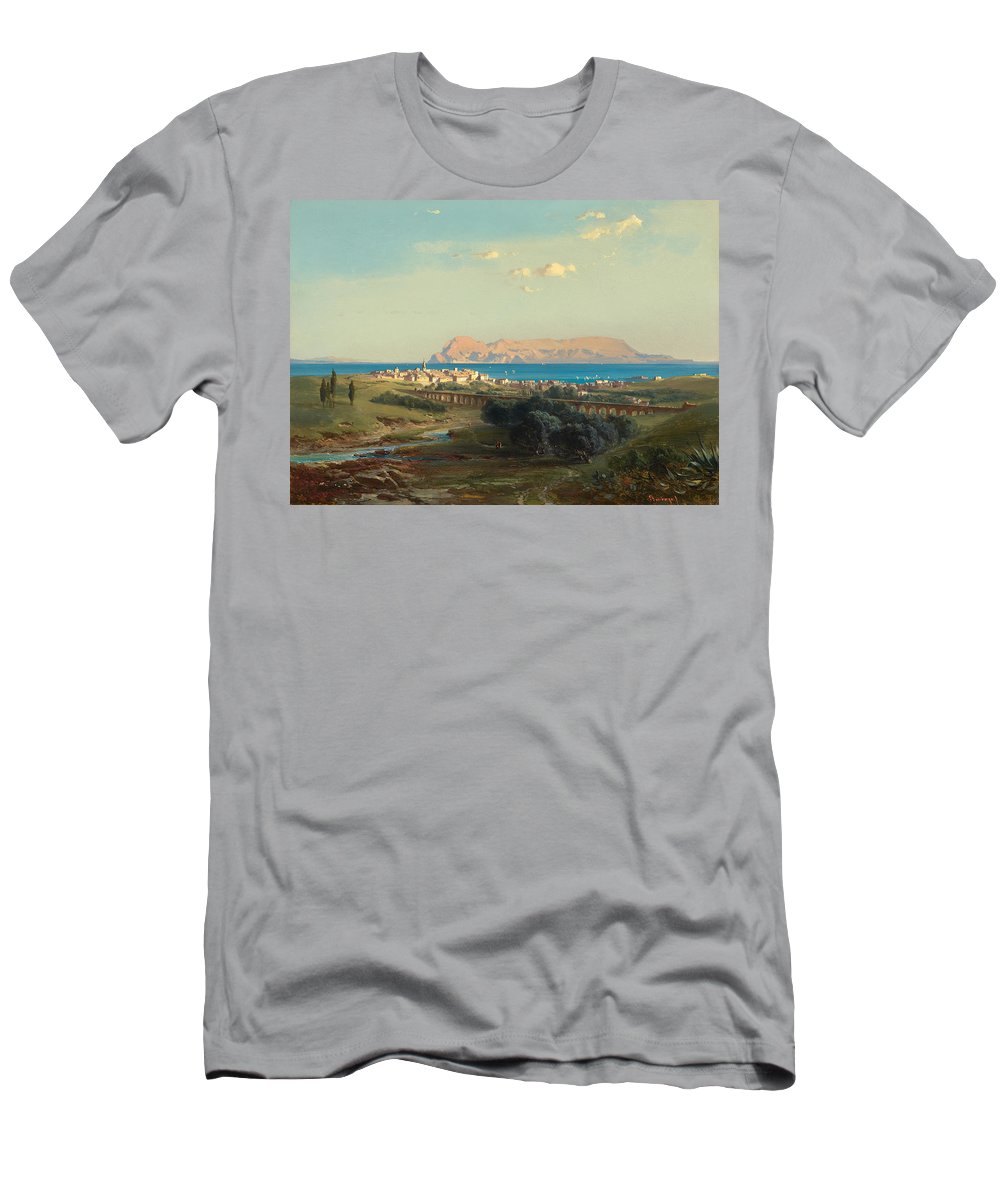 Landscape Men's T-Shirt (Athletic Fit) featuring the painting Views Of Algeciras On The Rock Of Gibraltar by Celestial Images