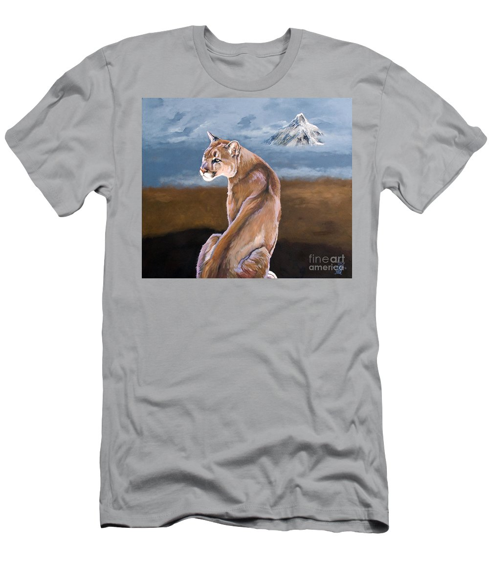 Indigenous Wildlife Men's T-Shirt (Athletic Fit) featuring the painting Vigilance by J W Baker