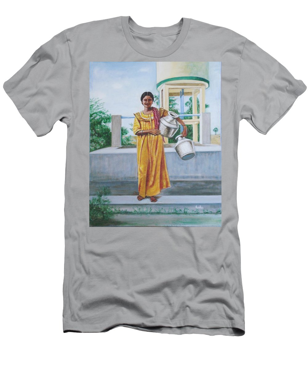 Usha Men's T-Shirt (Athletic Fit) featuring the painting Village Belle by Usha Shantharam