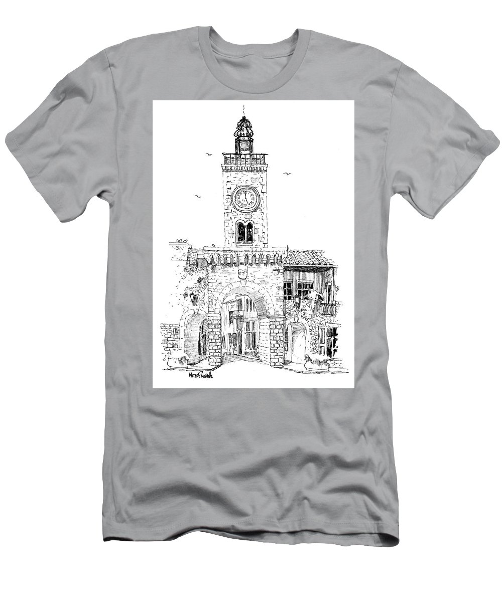 Architecture Men's T-Shirt (Athletic Fit) featuring the drawing Village Gate In Old Le Thor France by Ken Pieper