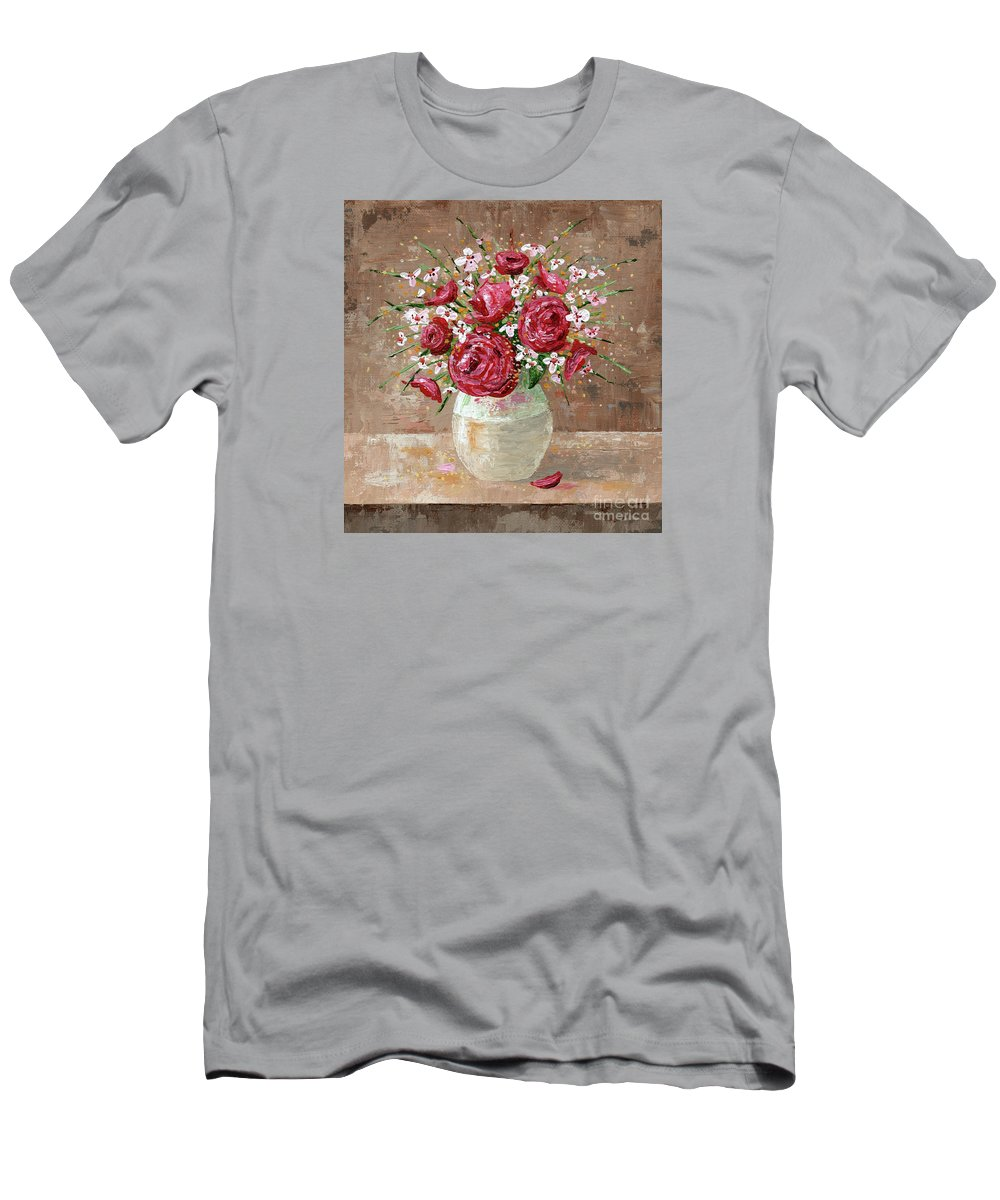 Flowers Men's T-Shirt (Athletic Fit) featuring the painting Vintage Memories by Annie Troe