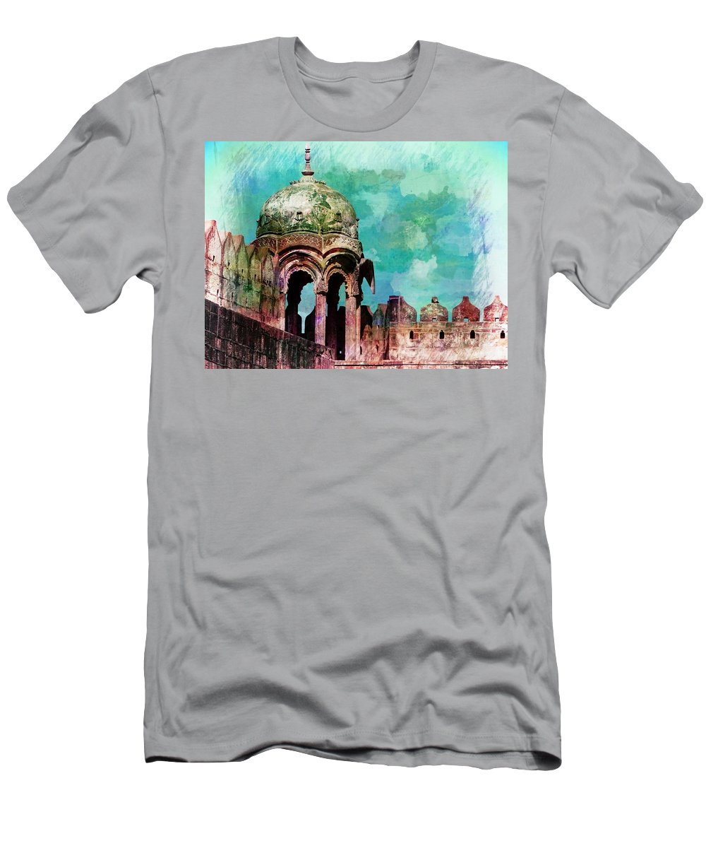 Travel Photography Men's T-Shirt (Athletic Fit) featuring the photograph Vintage Watercolor Gazebo Ornate Palace Mehrangarh Fort India Rajasthan 2a by Sue Jacobi