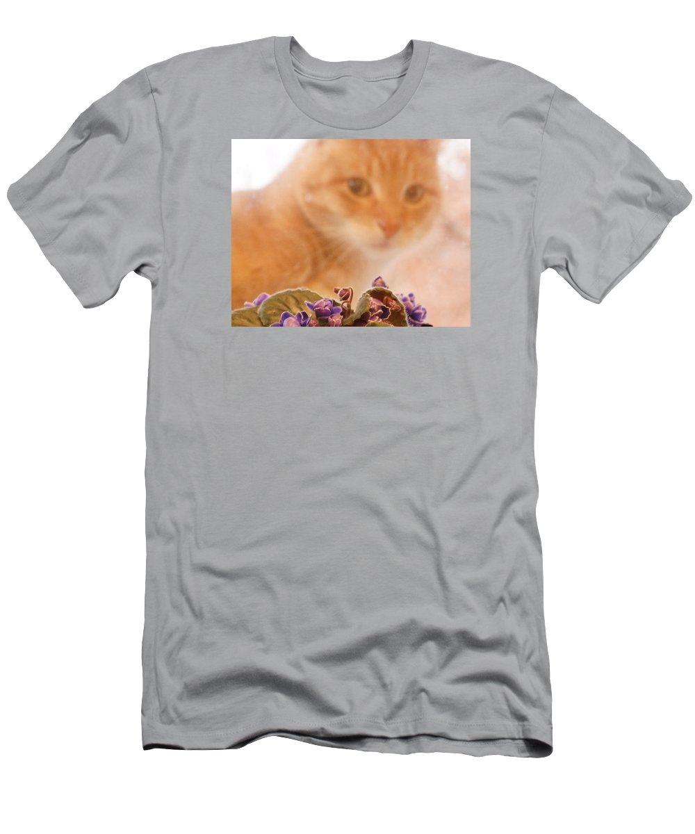Orange Tabby Cat T-Shirt featuring the digital art Violets with Cat by Jana Russon