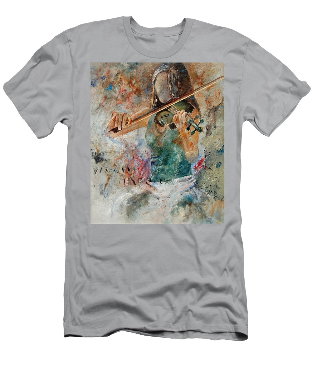 Music Men's T-Shirt (Athletic Fit) featuring the painting Violinist 56 by Pol Ledent