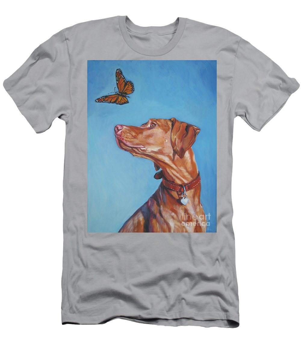 Vizsla Men's T-Shirt (Athletic Fit) featuring the painting Vizsla And The Butterfly by Lee Ann Shepard