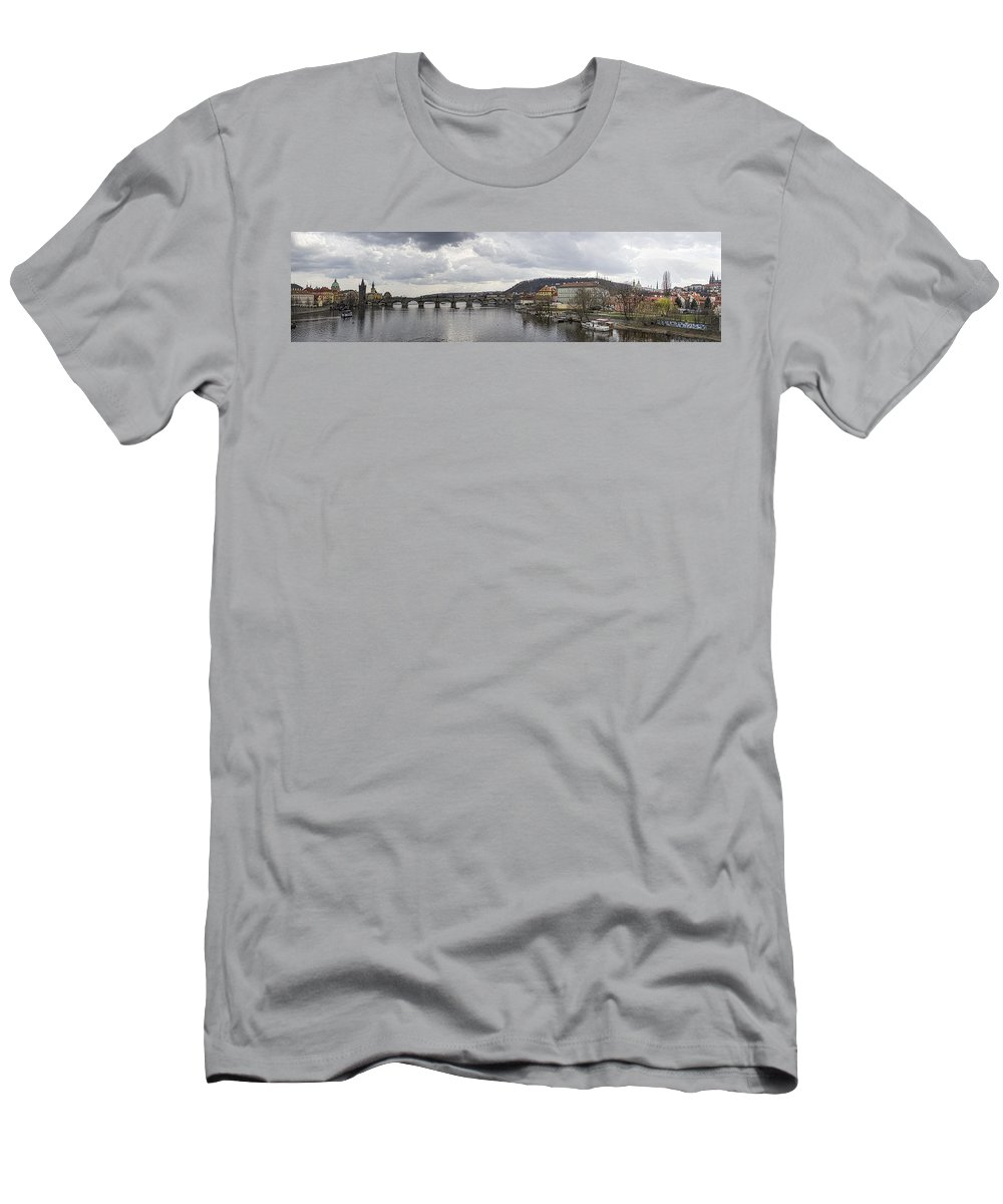 Prague Men's T-Shirt (Athletic Fit) featuring the photograph Vltava River Scene by Heather Applegate
