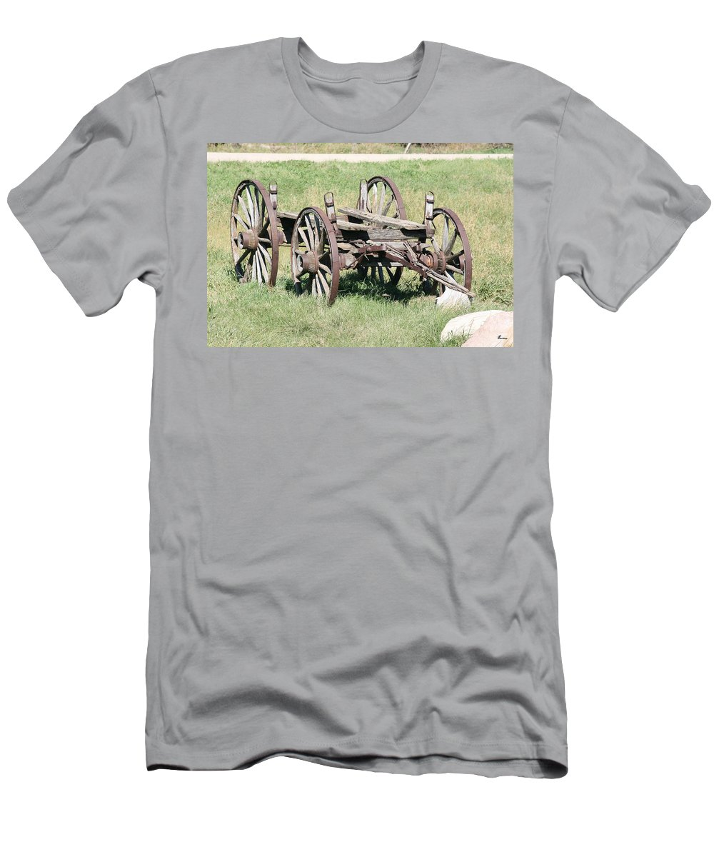 Old Wagon Ranch Horse Drawn Antique Wheels History Men's T-Shirt (Athletic Fit) featuring the photograph Wagon Aged by Andrea Lawrence