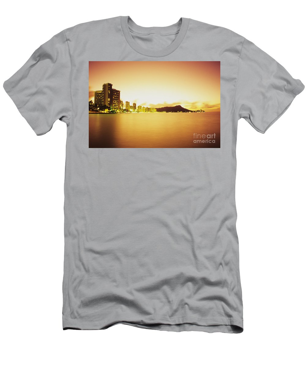 Building Men's T-Shirt (Athletic Fit) featuring the photograph Waikiki At Sunset by Peter French - Printscapes