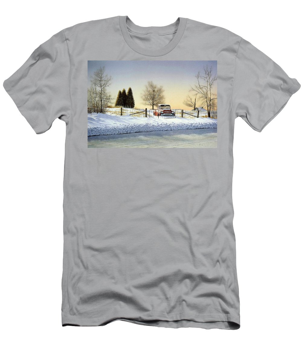 Landscape Men's T-Shirt (Athletic Fit) featuring the painting Waiting For Spring by Conrad Mieschke