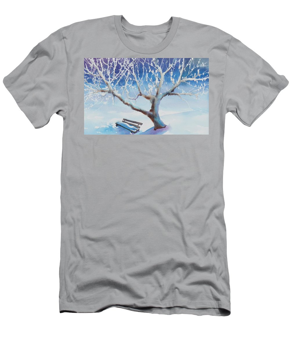 Snow Men's T-Shirt (Athletic Fit) featuring the painting Waiting For Spring by Ruth Kamenev