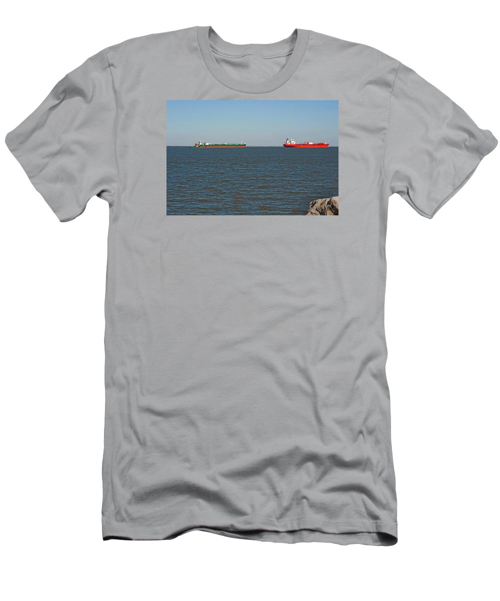 Barge Men's T-Shirt (Athletic Fit) featuring the photograph Waiting by Robert Brown