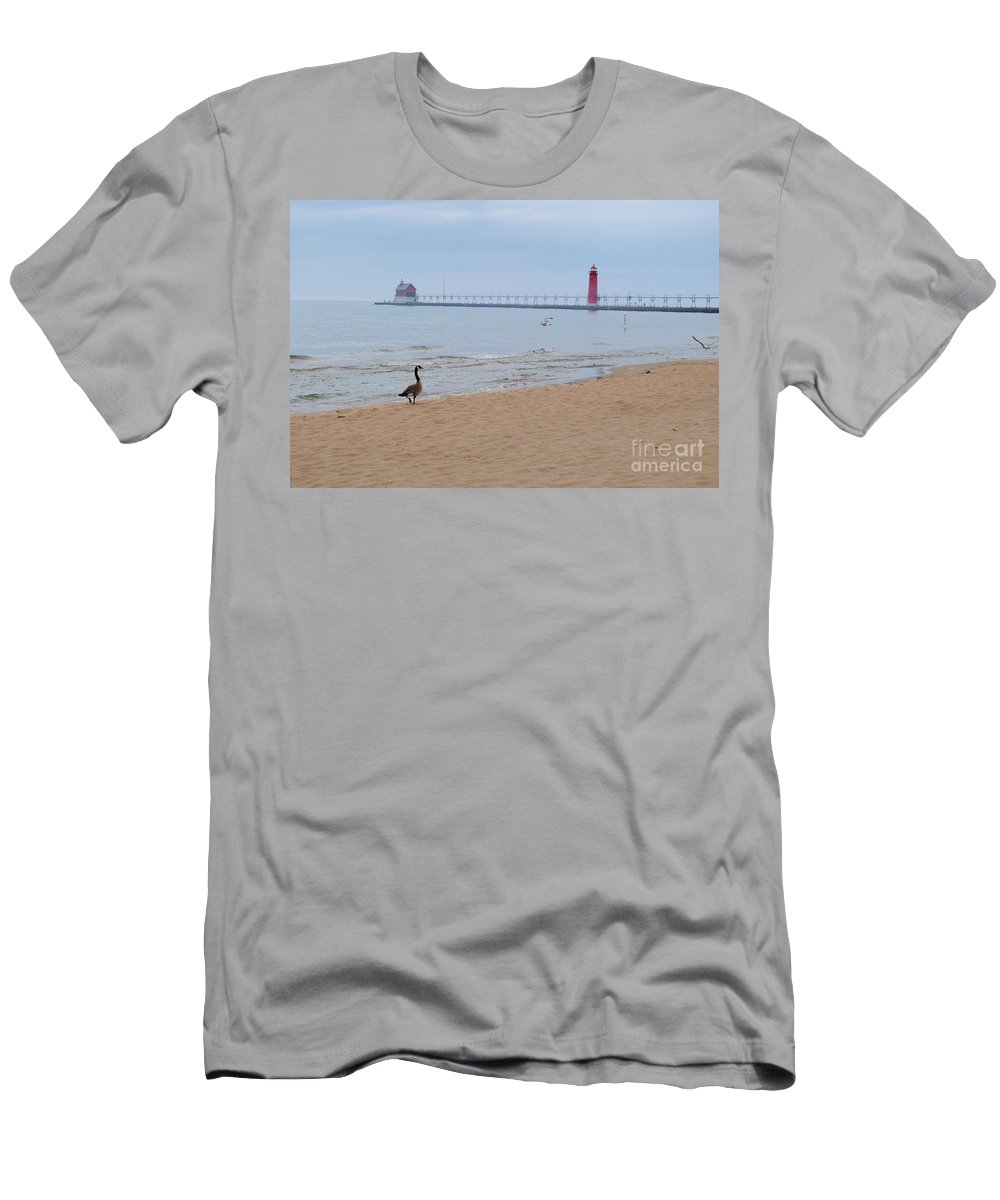 Lake Men's T-Shirt (Athletic Fit) featuring the photograph Walk On Lake Michigan by Jost Houk