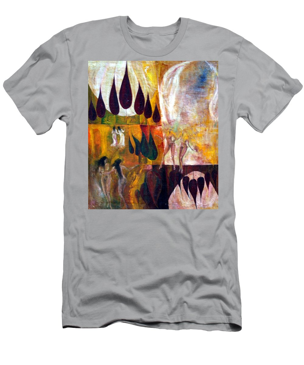 Colour Men's T-Shirt (Athletic Fit) featuring the painting Walk by Wojtek Kowalski