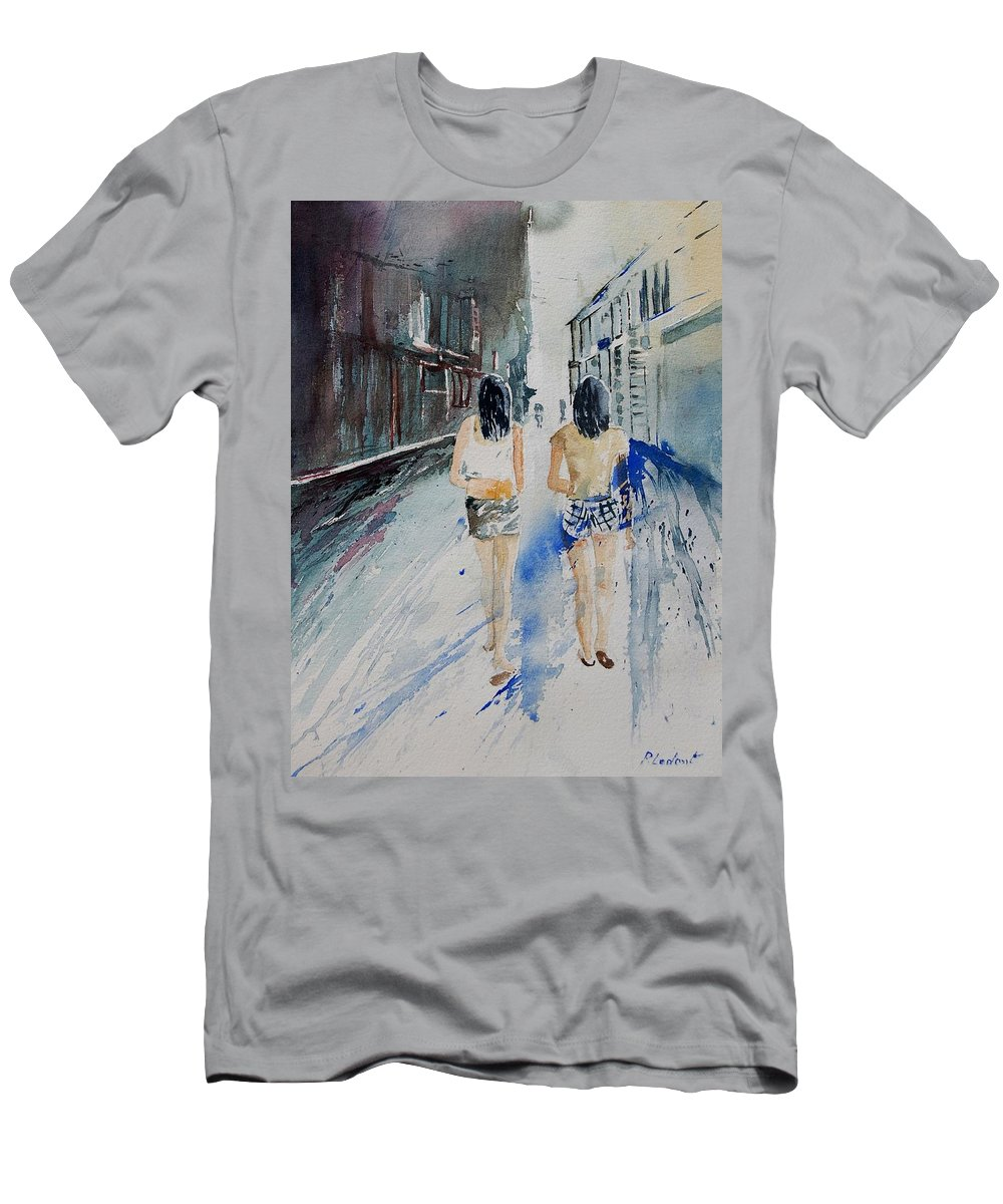 Girl Men's T-Shirt (Athletic Fit) featuring the painting Walking In The Street by Pol Ledent