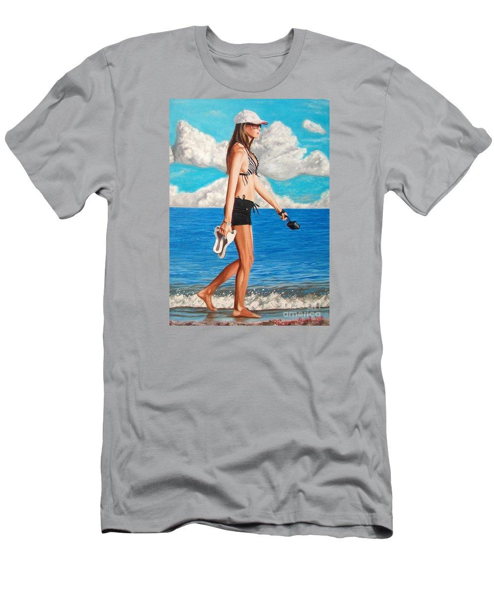 Beach T-Shirt featuring the painting Walking on the beach - Caminando por la playa by Rezzan Erguvan-Onal