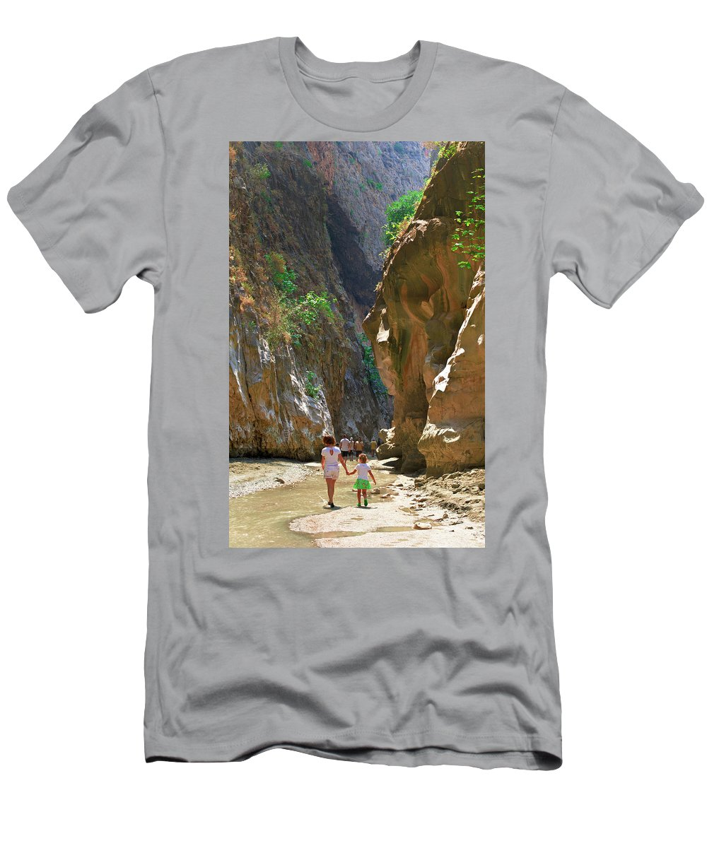 Canyon Men's T-Shirt (Athletic Fit) featuring the photograph Walking Through The Gorge Of Saklikent by Sun Travels