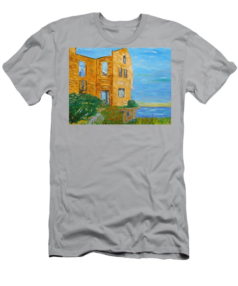 California Art | Oil Painting | Impressionism | Abstract Art | Alcatraz Island | Warden House | Ocean Painting | San Fransisco | Wildflowers | Flowers | Contemporary Art | Kathy Symonds | Artbykatsy Men's T-Shirt (Athletic Fit) featuring the painting Warden's House by Kathy Symonds