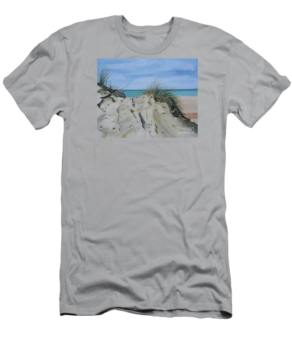 Lake Men's T-Shirt (Athletic Fit) featuring the painting Warren Dunes by Mary Rogers