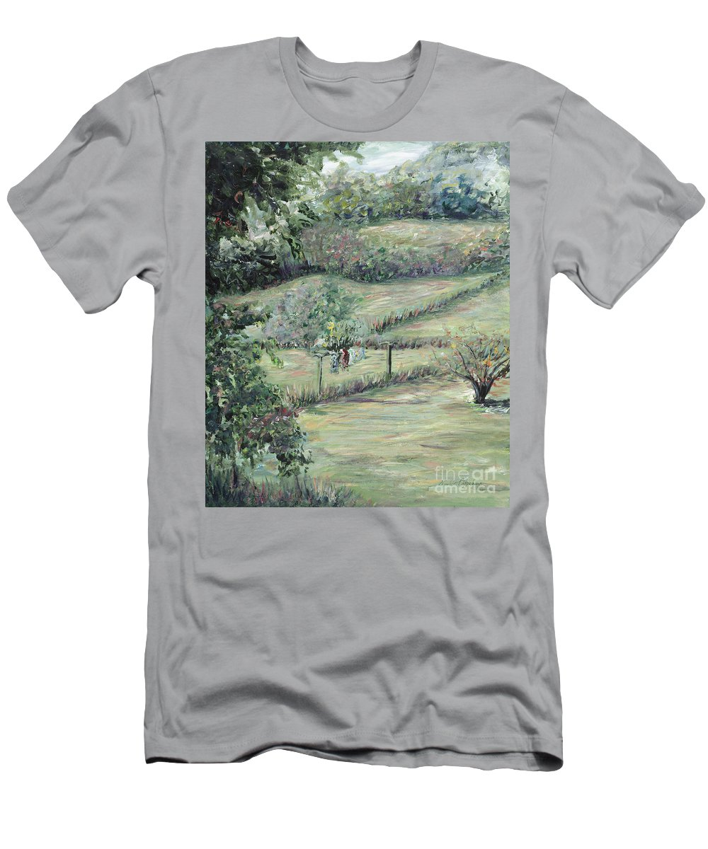 Landscape Men's T-Shirt (Athletic Fit) featuring the painting Washday In Provence by Nadine Rippelmeyer