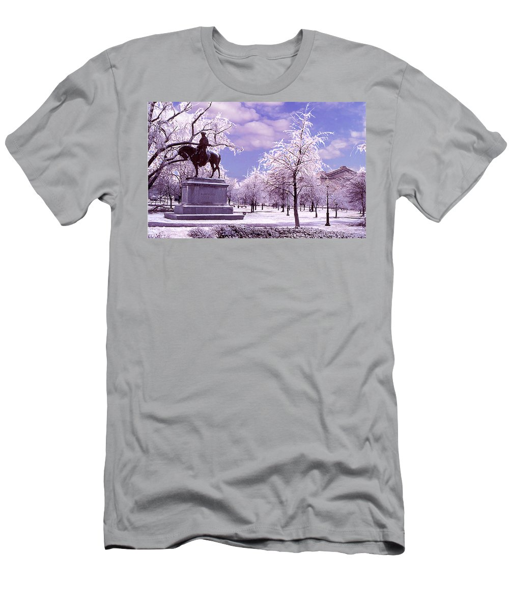 Landscape Men's T-Shirt (Athletic Fit) featuring the photograph Washington Square Park by Steve Karol