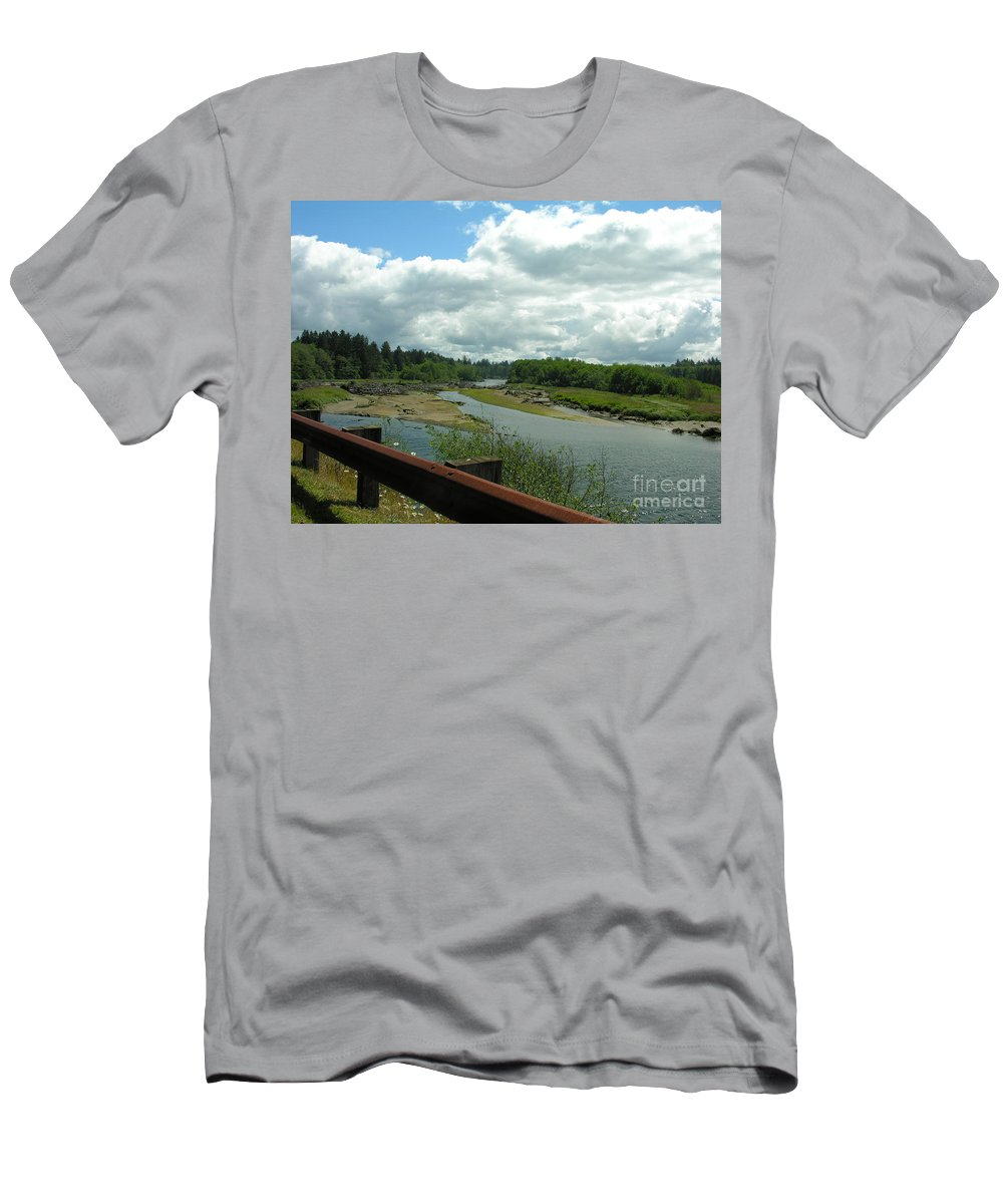 Rail Men's T-Shirt (Athletic Fit) featuring the photograph Washinton Coast 2 by Diane Greco-Lesser