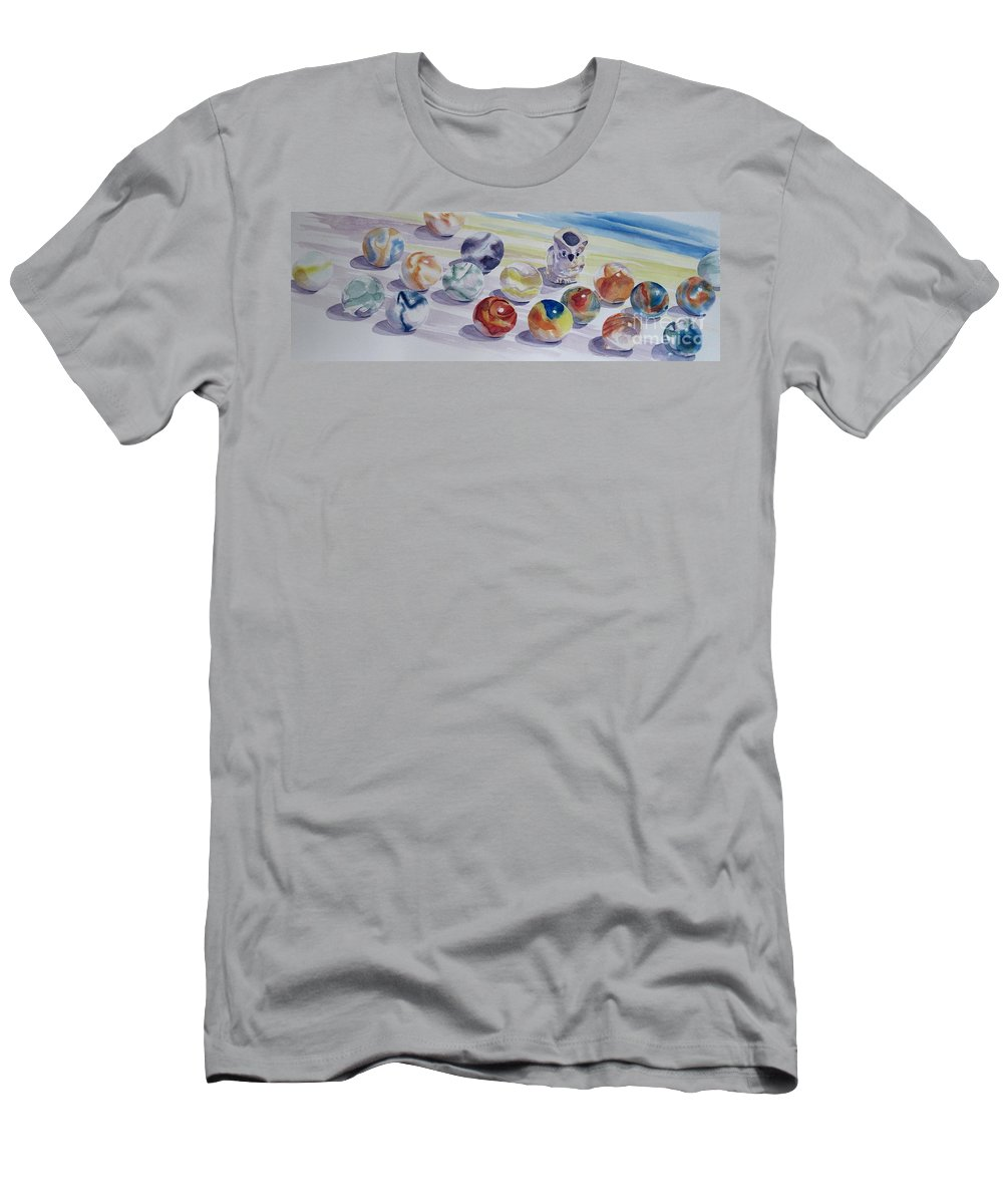 Glass Men's T-Shirt (Athletic Fit) featuring the painting Watching Over My Marbles by Karen Boudreaux