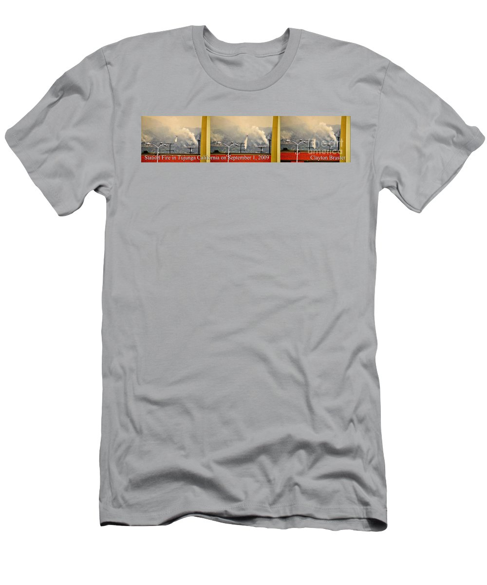 Clay Men's T-Shirt (Athletic Fit) featuring the photograph Water Drop On The Station Fire by Clayton Bruster