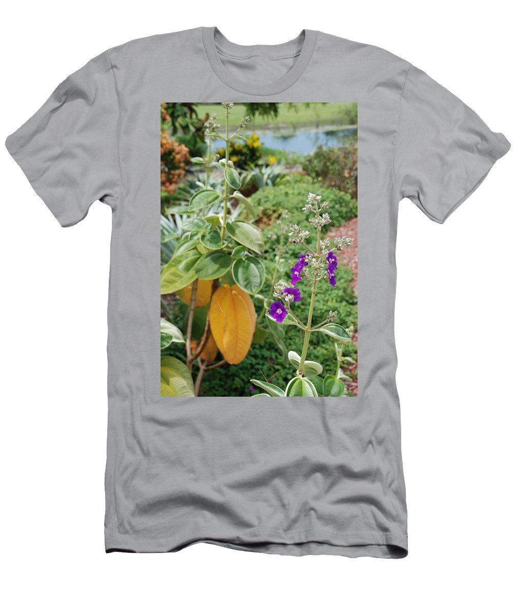Water Men's T-Shirt (Athletic Fit) featuring the photograph Water Plants And Flower by Rob Hans