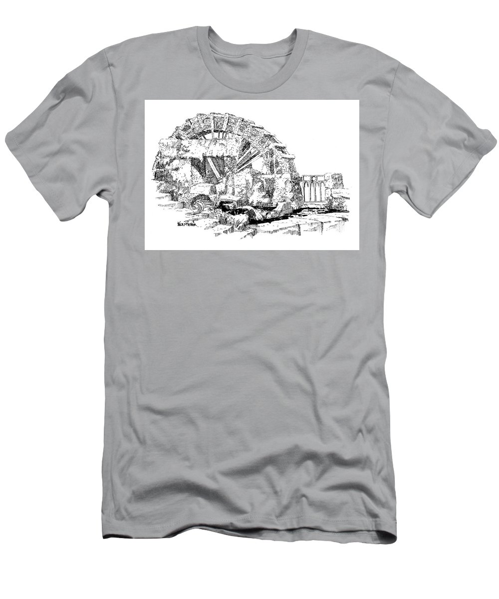 Water Wheel Men's T-Shirt (Athletic Fit) featuring the drawing Water Wheel At L'isle-sur-la-sorgue France by Ken Pieper