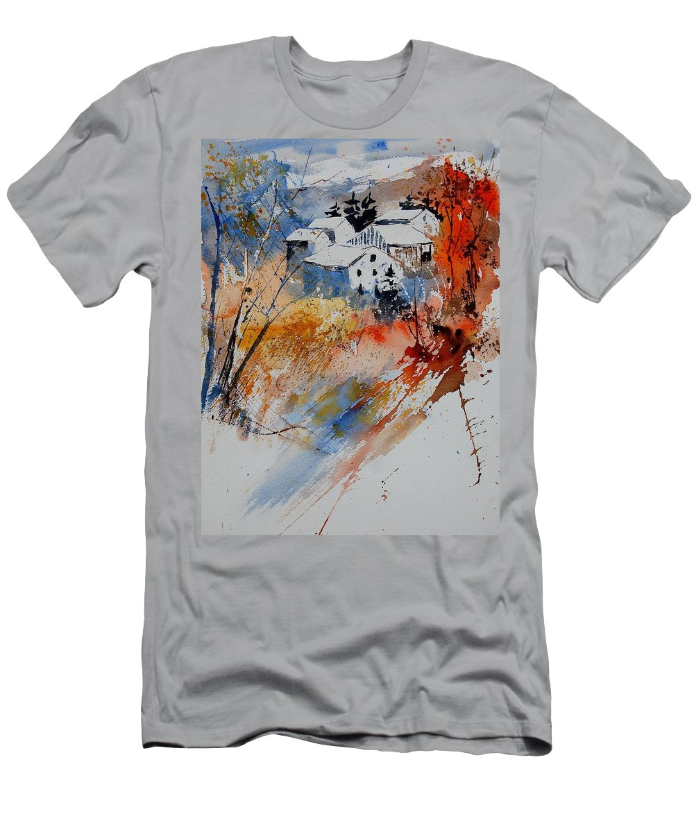 Landscape Men's T-Shirt (Athletic Fit) featuring the painting Watercolor 011012 by Pol Ledent