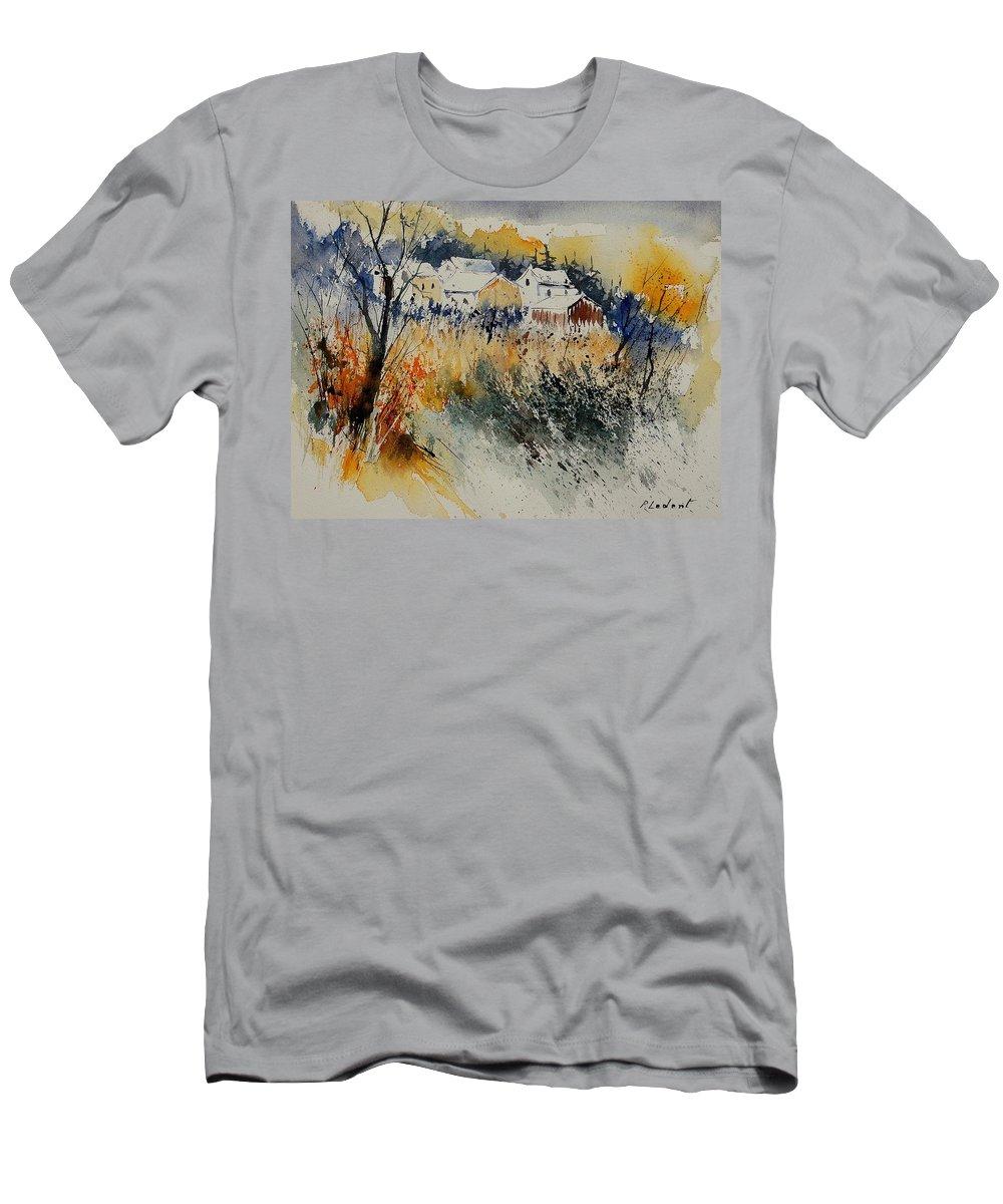 Landscape Men's T-Shirt (Athletic Fit) featuring the painting Watercolor 011071 by Pol Ledent