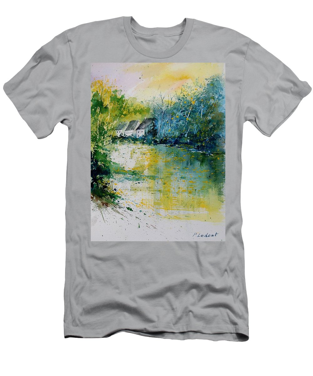 River Men's T-Shirt (Athletic Fit) featuring the painting Watercolor 011108 by Pol Ledent