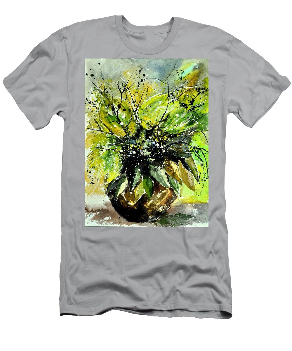 Flowers Men's T-Shirt (Athletic Fit) featuring the painting Watercolor 016070 by Pol Ledent