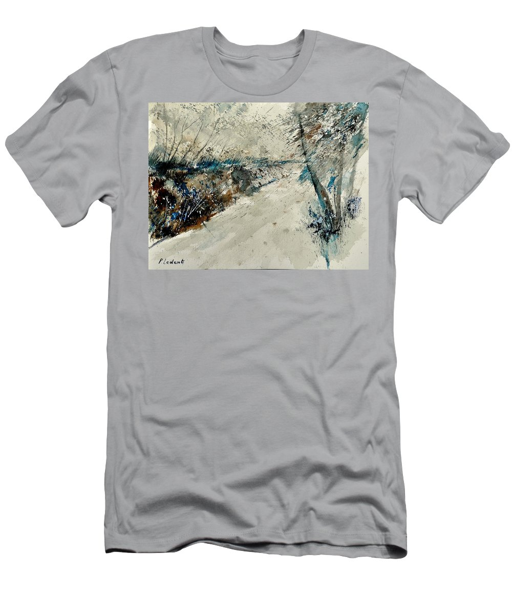 Landcape Men's T-Shirt (Athletic Fit) featuring the painting Watercolor 018001 by Pol Ledent