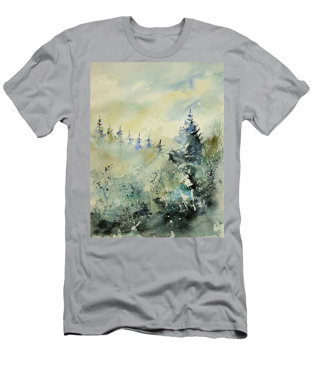 Winter Men's T-Shirt (Athletic Fit) featuring the painting Watercolor 020307 by Pol Ledent