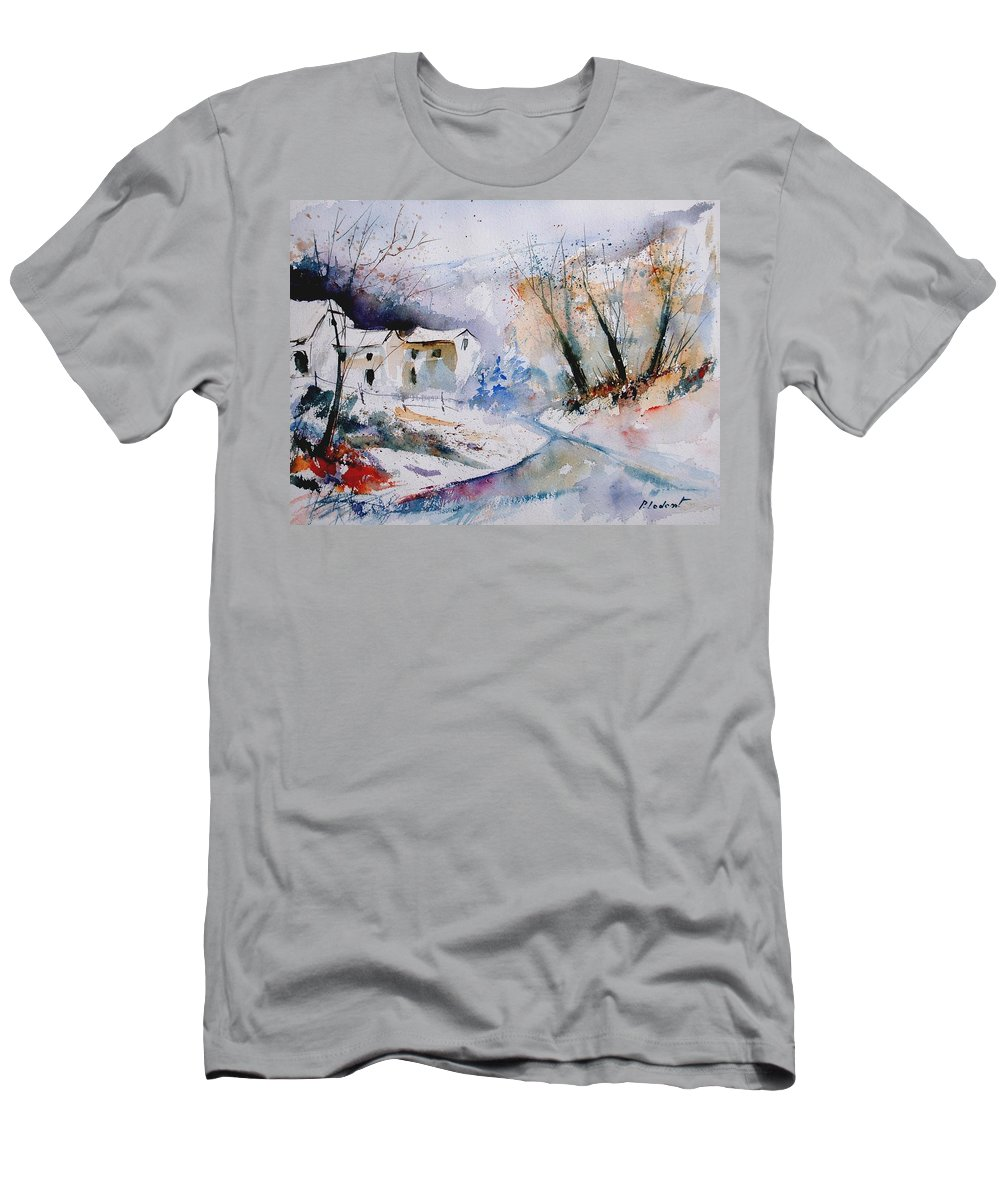Winter Men's T-Shirt (Athletic Fit) featuring the painting Watercolor 050408 by Pol Ledent