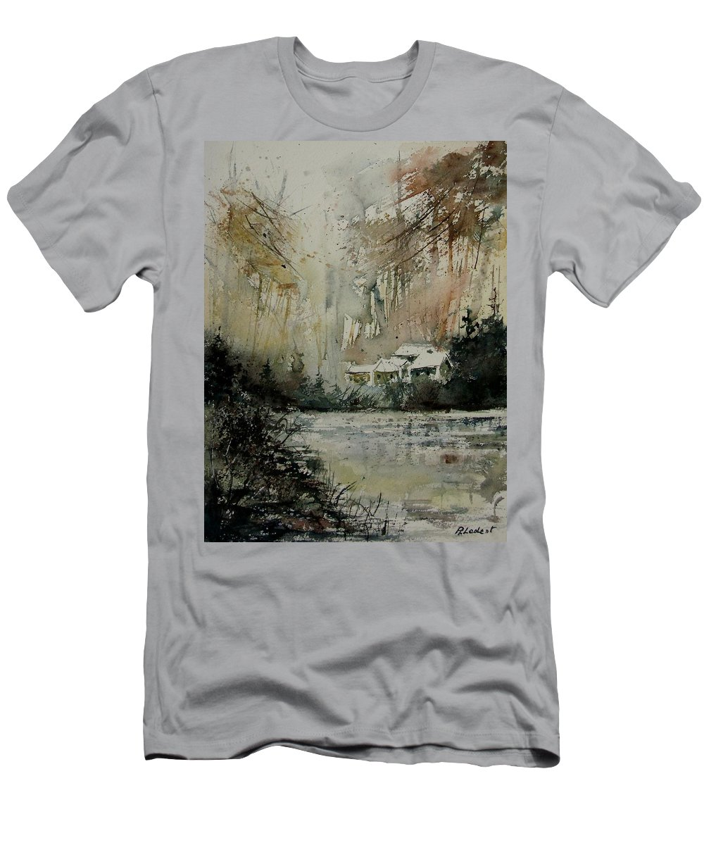 Landscape Men's T-Shirt (Athletic Fit) featuring the painting Watercolor 070608 by Pol Ledent