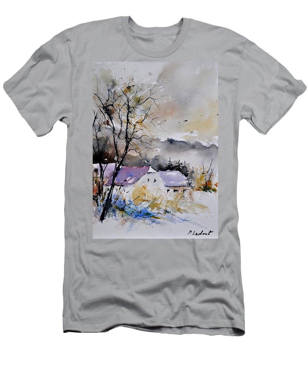 Landscape Men's T-Shirt (Athletic Fit) featuring the painting Watercolor 112012 by Pol Ledent