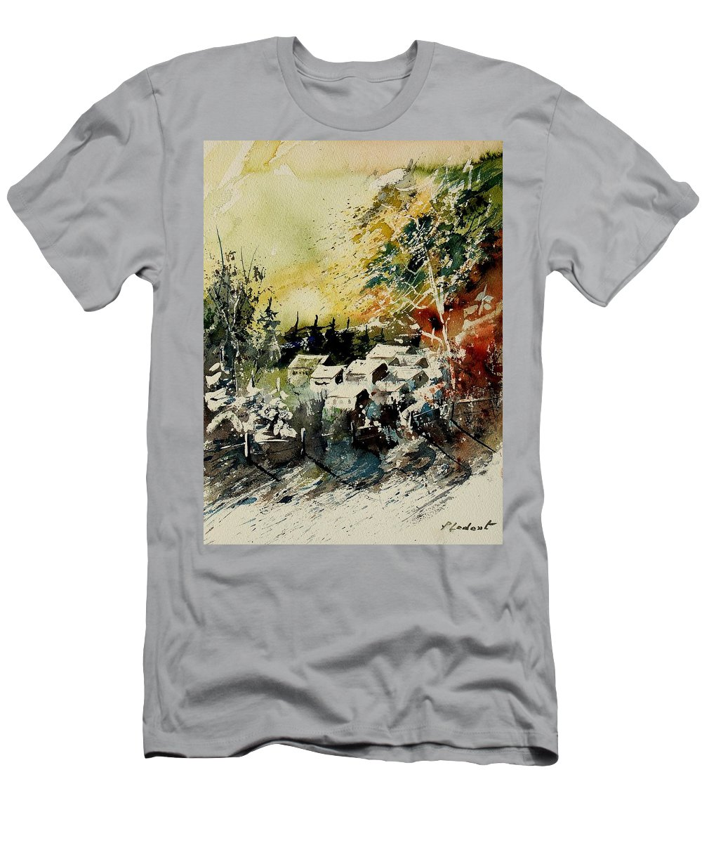 Village Men's T-Shirt (Athletic Fit) featuring the painting Watercolor 130708 by Pol Ledent