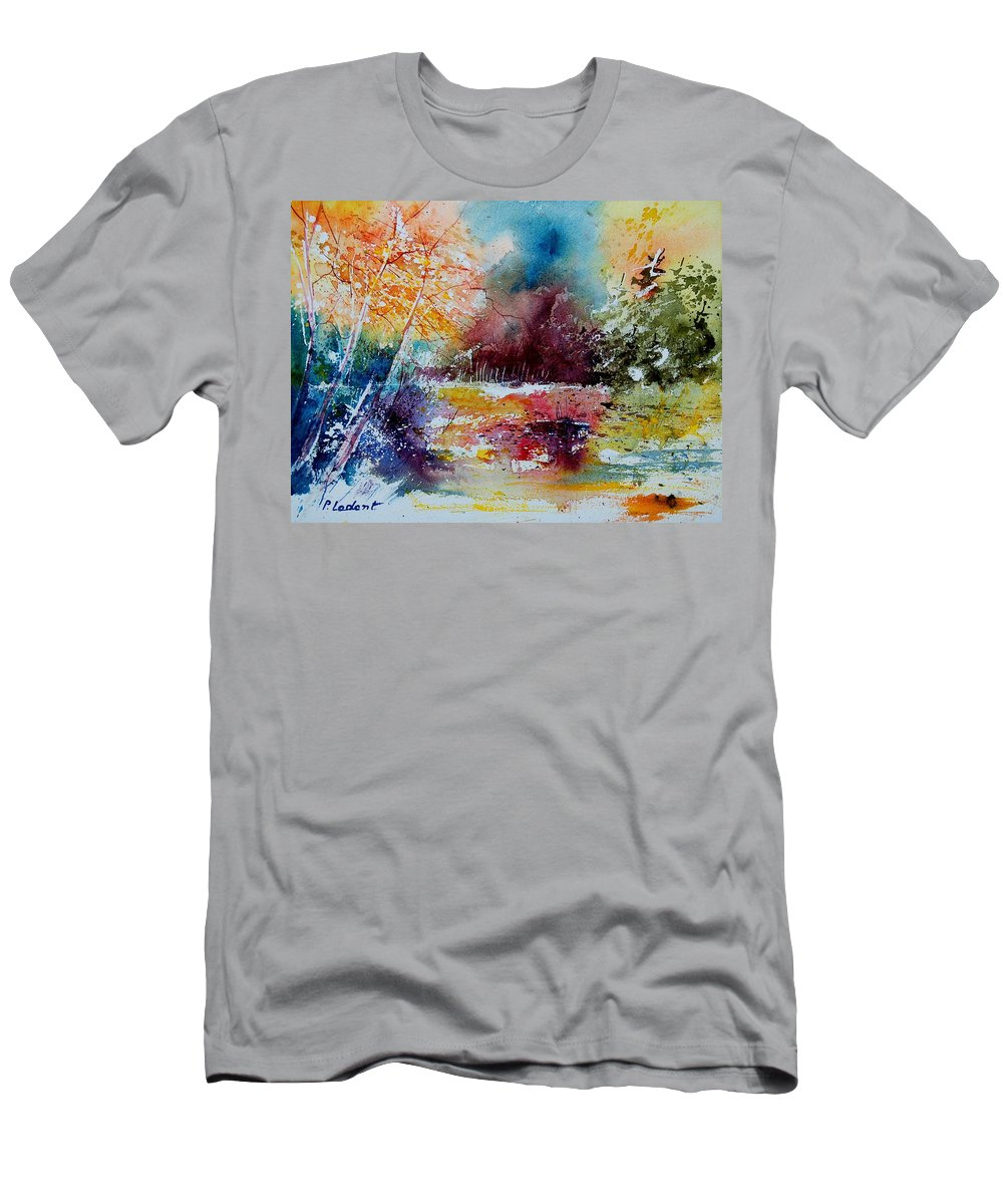 Pond Men's T-Shirt (Athletic Fit) featuring the painting Watercolor 140908 by Pol Ledent