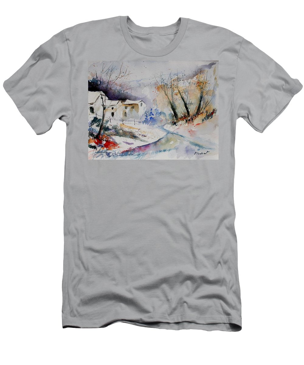 Village Men's T-Shirt (Athletic Fit) featuring the painting Watercolor 15823 by Pol Ledent