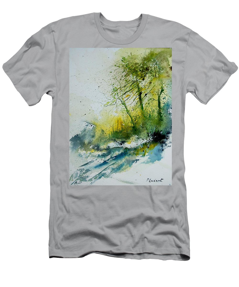 River Men's T-Shirt (Athletic Fit) featuring the painting Watercolor 181207 by Pol Ledent