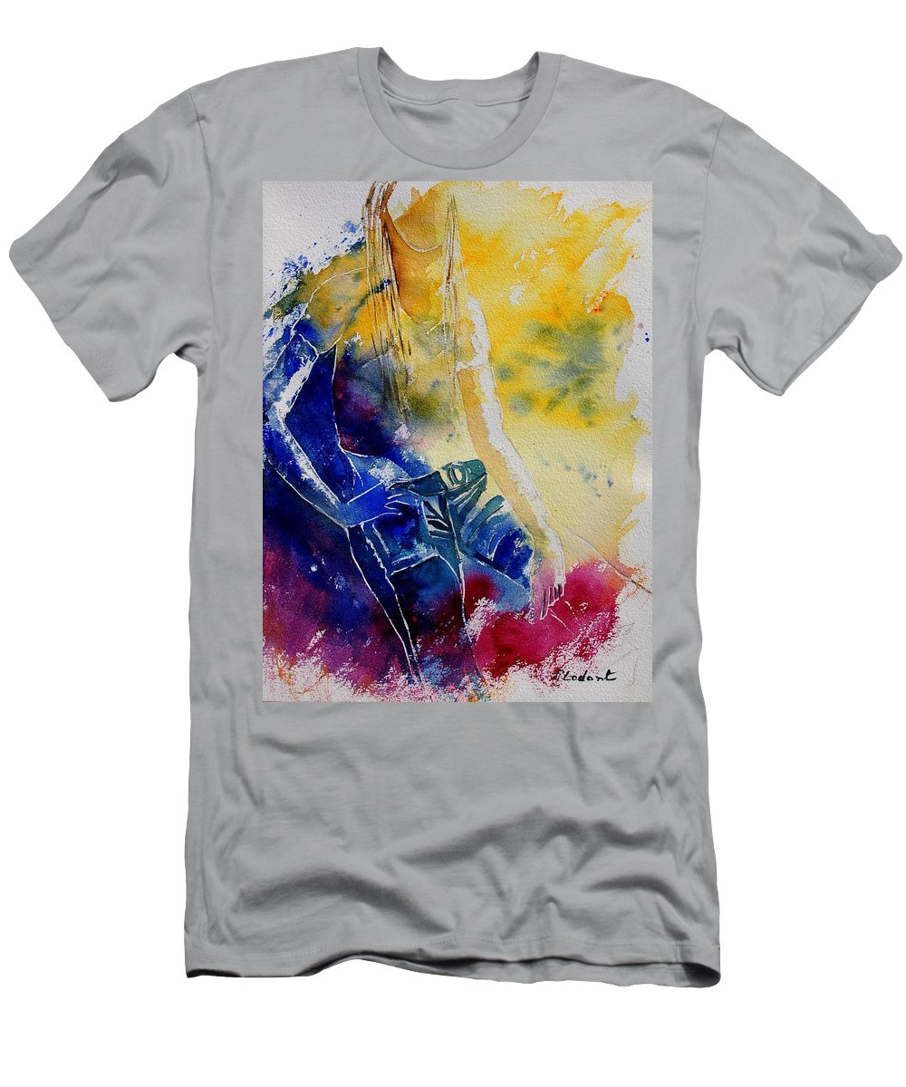 Girl Nude Men's T-Shirt (Athletic Fit) featuring the painting Watercolor 21546 by Pol Ledent