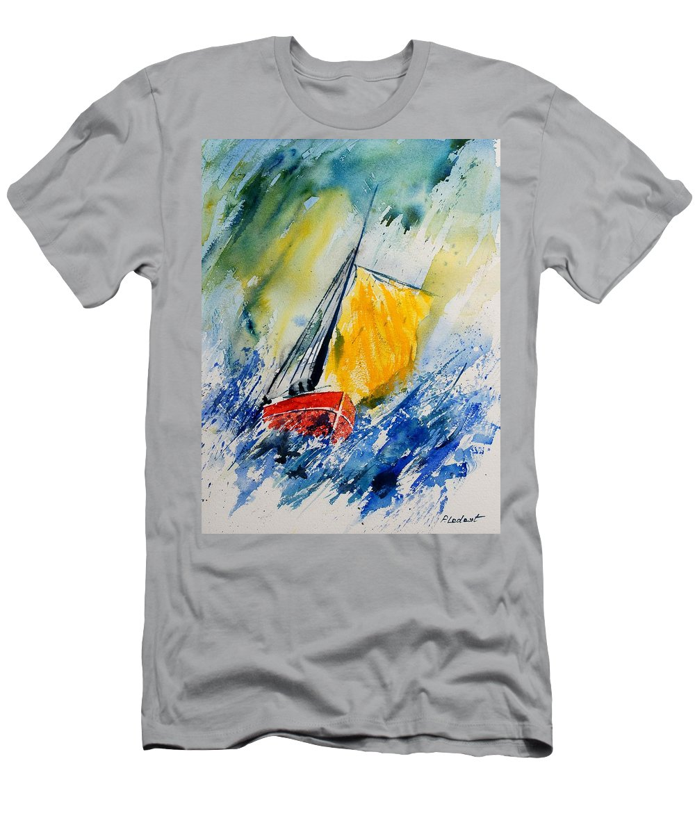 Sea Waves Ocean Boat Sailing T-Shirt featuring the painting Watercolor 280308 by Pol Ledent