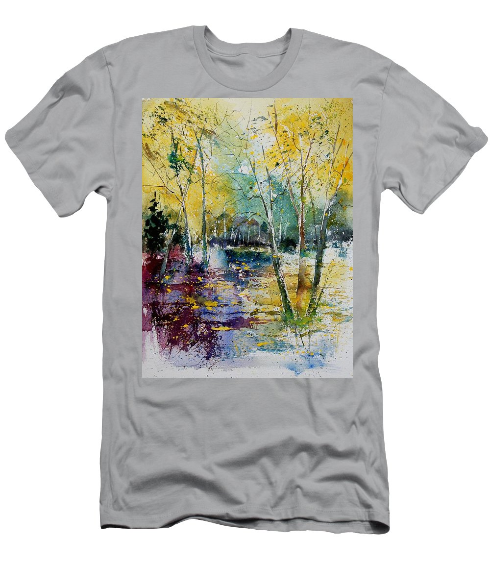 Pond Men's T-Shirt (Athletic Fit) featuring the painting Watercolor 280809 by Pol Ledent