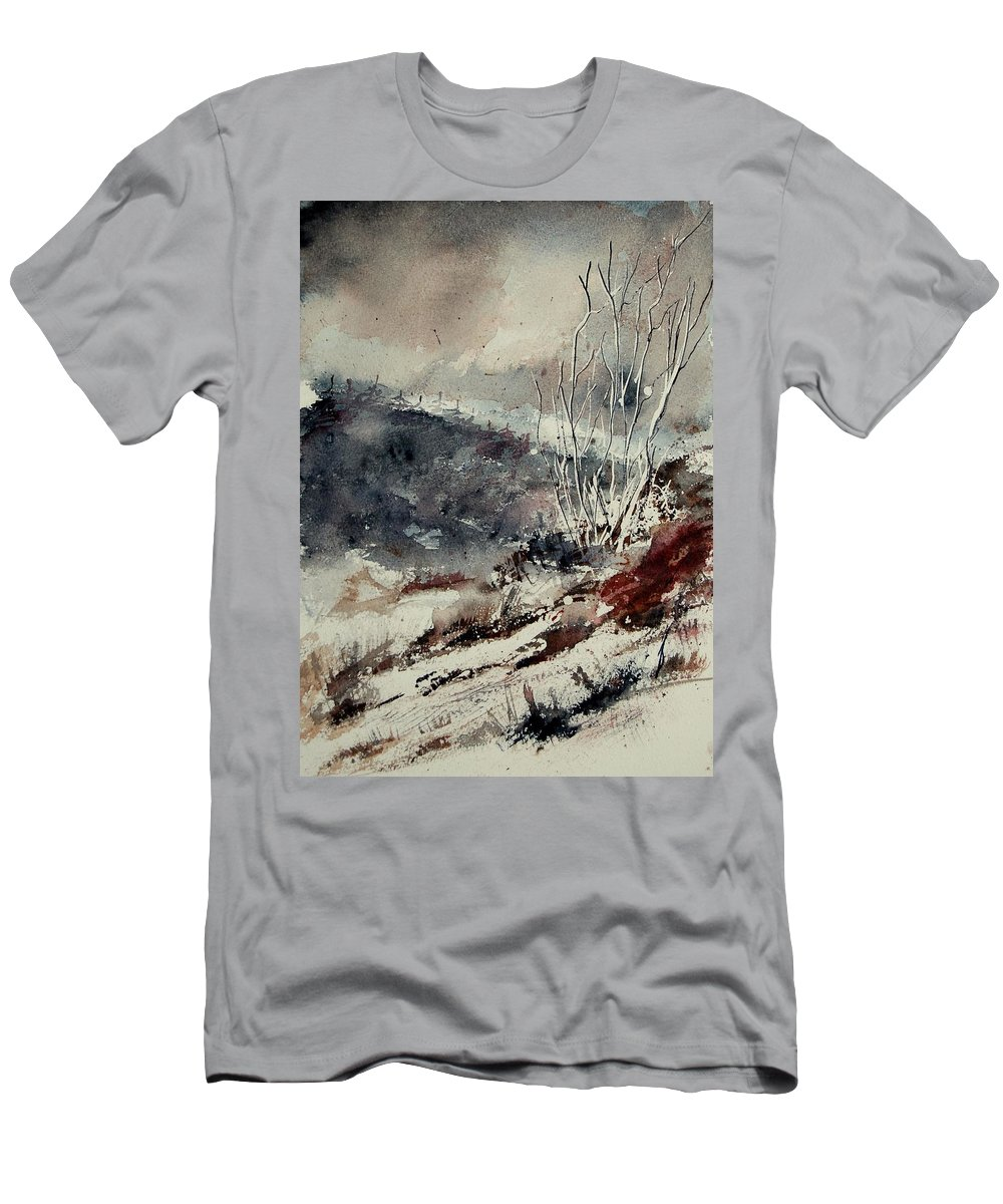 Snow Men's T-Shirt (Athletic Fit) featuring the print Watercolor 446 by Pol Ledent