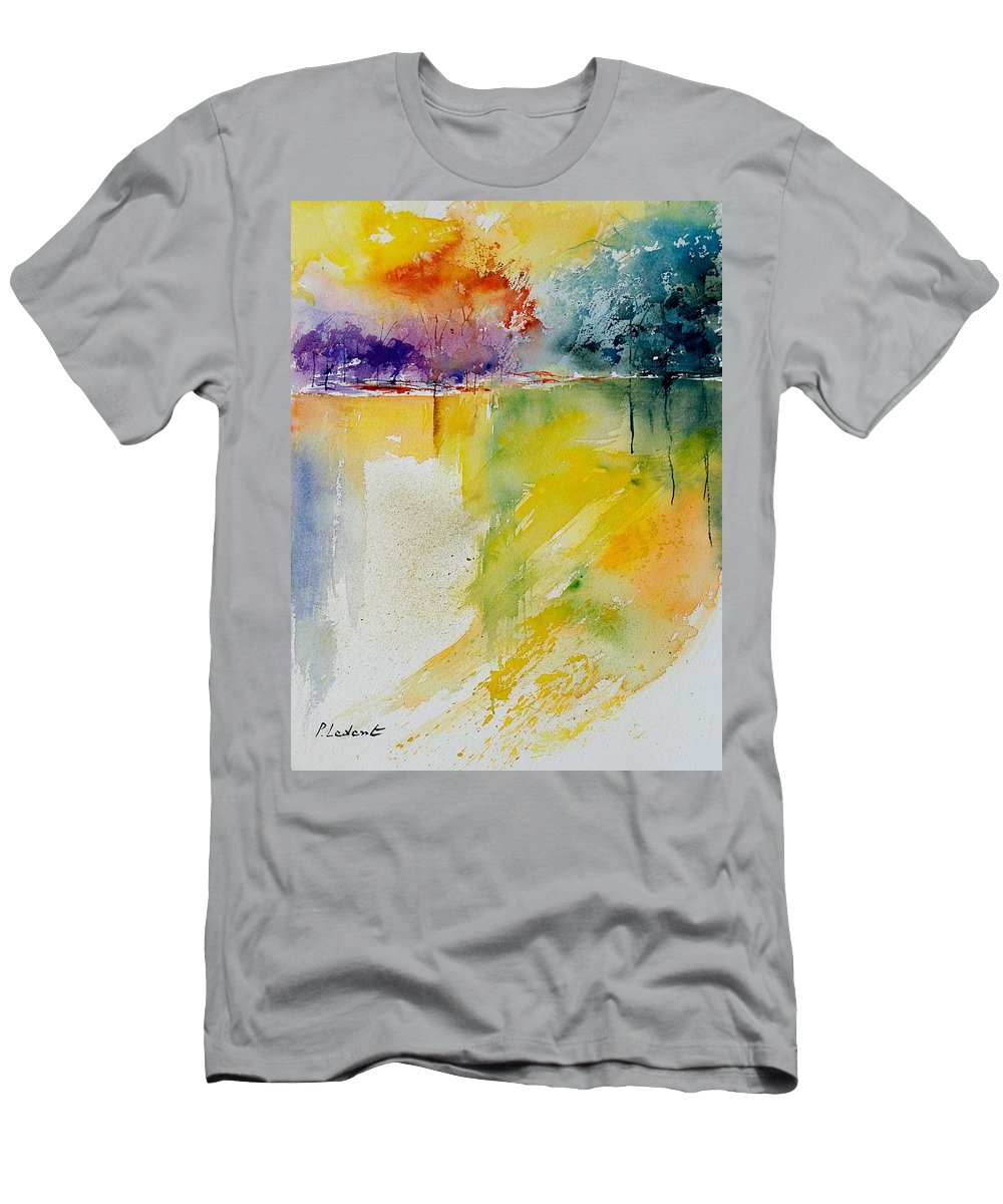 Pond Men's T-Shirt (Athletic Fit) featuring the painting Watercolor 800142 by Pol Ledent