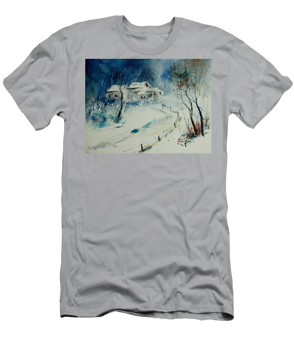 Winter Men's T-Shirt (Athletic Fit) featuring the painting Watercolor 905001 by Pol Ledent