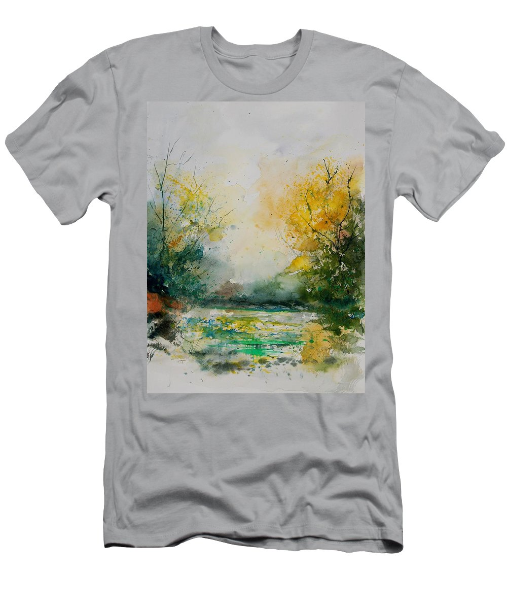 Water Men's T-Shirt (Athletic Fit) featuring the painting Watercolor 905081 by Pol Ledent