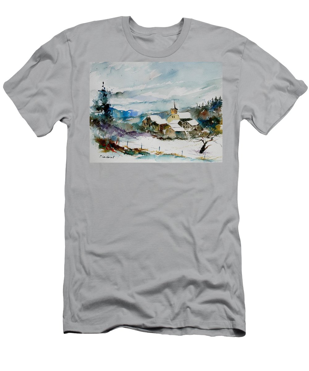 Winter Men's T-Shirt (Athletic Fit) featuring the painting Watercolor 908011 by Pol Ledent
